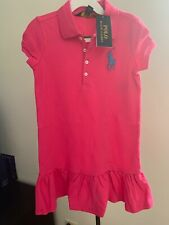 Ralph Lauren Childrenswear Drop-Waist Stretch Polo Dress Girl Pink size 5 Nwt