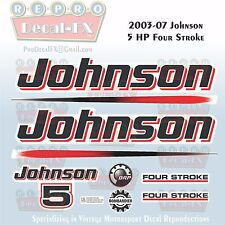 2003-07 Johnson 5 HP Four Stroke Outboard Reproduction 10 Pc Marine Vinyl Decals