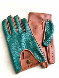 Handmade Women's Driving Python Leather Multi-Color Gloves