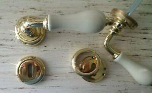 Maniglie per porte interne Porcellana AVORIO, ottone lucido