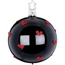 Christbaumkugel Hearts all over Ø 8cm schwarz opal Weihnachtsschmuck Inge-Glas®