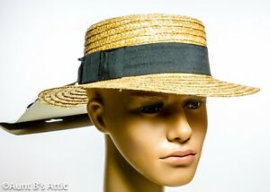 Skimmer/Boater Hat & Bow Tie Set 20's-30's Era Men's Straw Hat W/ Blk Band OS