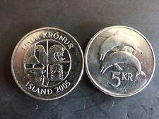 Pièce monnaie ISLANDE ICELAND 5 KRONUR 2005 dauphin dolphin NEUF UNC NEW