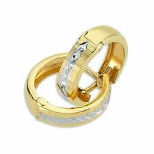 Pargold 14 Karat Gold (585) Bicolor Creolen Ohrring für Damen I 585er Ohrringe