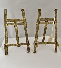 Pair Vintage Brass Table Top Easels For Book Picture Plate 5.75� Height Italy