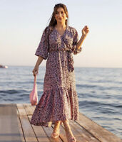H&M AW2020 Conscious Lyocell Dress Size S Black Purple Floral Sold Out Bloggers