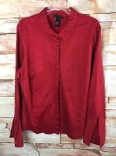 Lane Bryant Womens Button Front Long Sleeve Blouse Size 18 20 Red B8*O