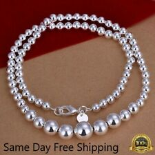Womens 925 Sterling Silver Hollow Balls Beads Chain Necklace #N169