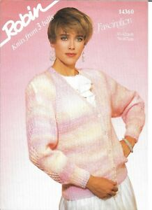 """Vintage Robin Knitting Pattern Ladies Chunky Patterned Cardigan 30-42"""" Bust"""