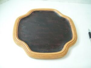 "9"" Diameter Resin Candle Plate, Holder Dark Brown Wood Look"