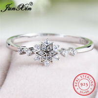 Solid 925 Sterling Silver White Sapphire Snowflake Ring Womens Wedding Jewelry