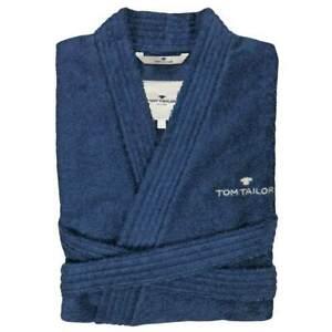 Tom Tailor Bademantel Kimono Unisex Damen + Herren Frottee Baumwolle Grau Blau