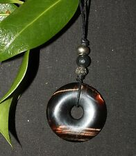 Red tiger eye donut pendentif/collier sur cordon-gemme, pagan, cristal, wicca
