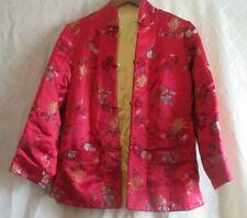 Vintage Asian Reversible Hot Pink & Gold Embroidered Silk Mandarin Coat Jacket S