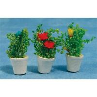 3 Pots of Flowers For Dolls House or Fairy Gardens & Doors 12th Scale Miniatures