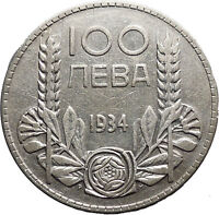 1934 Boris III Tsar of Bulgaria 100 Leva Large Old European Silver Coin i50159