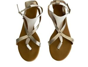Seychelles Womens Size 7.5 Silver & White Sandals Back Flat Leather