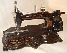 1860 ANTIQUE GRITZNER ORIGINAL CRANK SEWING MACHINE FIGURAL IRON CASTING BASE