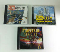 Sim City PC Lot of 3 - 3000 Unlimited, Streets of & Copter Maxis Sandbox Games!