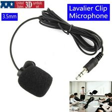 Mini Lavalier Mic 3.5mm Clip-On Lapel MIcrophone Hands-Free Wired Condenser US