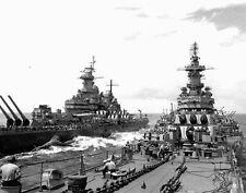 WWII B&W Photo USS Missouri and USS Iowa  WW2/ 7033