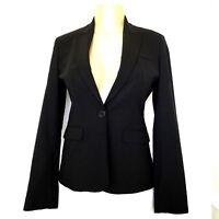 J.CREW Blazer Jacket Black Stretch Wool Size 0 Notch Lapel One Button Lined
