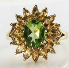 BRIGHT 9CT 9K GOLD NATURAL PERIDOT & CITRINE ART DECO INS SUNBURST FLOWER RING