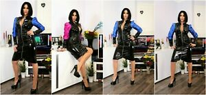 PVC & SATIN  COAT DRESS MAC Black White  Blue Yellow Red 6-16 UK New With Tags