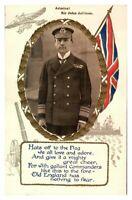 Antique WW1 postcard military portrait Field Marshal Kitchener Union Jack