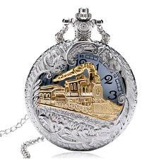 New Vintage Steampunk Train Silver Hollow Gold Pocket Watch Quartz Pendant Chain