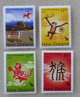2016 NEW ZEALAND YEAR OF THE MONKEY SET OF 4 MINT STAMPS MNH