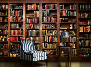Books in Library Photo Wallpaper Wall Mural DECOR Paper Poster Free Glue