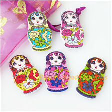 15 New Wooden Russian Dolls Buttons Fit Sewing Or Scrapbook Mixed 17.5x29.5mm