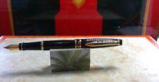 Vintage Waterman Expert Fountain Pen Black Gold Trim Med Point - NIB 1st Edition