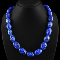 751.50 CTS EARTH MINED RICH BLUE SAPPHIRE GEMSTONE OVAL CARVED BEADS NECKLACE