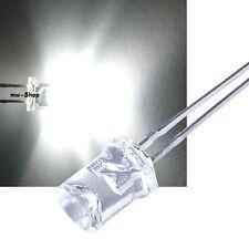 100 concave WEIßE Leds 5mm 1.500mcd +Zubehör weiß led