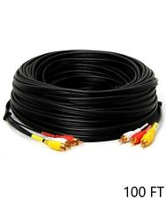 100ft 3-RCA Male to Male 3RCA Composite AV Audio Video Cable RG-59/U TV DVD Gold