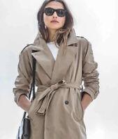 Andrew Marc New York Trench Coat Jacket Belted  Beige Women's Sz L MSRP $119.00.