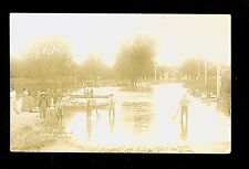1908 RPPC Water at Waterville MN People & Boats in Flood Water  A8369