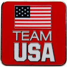 Large Square Red Team USA Official National Olympic Committee NOC PIN Undated