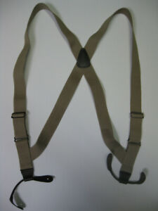 """1"""" Side Grip MEN'S Suspenders  Leather BUTTON-ON. MADE IN USA"""