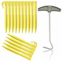 Acehome 15 Pcs Plastic Tent Nails Heavy Duty Tent Camping Pegs, Spiral Tent Nail