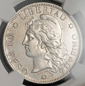 1882, Argentina (Republic). Beautiful Large Silver Peso Coin. NGC UNC+