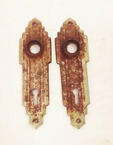 Vtg antique ornate deco door knob back plate set