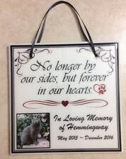 """Pet Sympathy Gift Memorial Sign Custom Plaque Quote """"No longer by our side"""""""