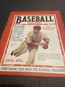 1920 BASEBALL MAGAZINE W/G. CLEVELAND ALEXANDER COVER~BABE RUTH~SAM RICE~COVELSK