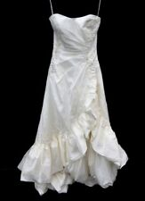 """White """"2 Be"""" Bride Strapless Wedding Dress with Ruffled Cut-Out in Size 8 - LIN"""