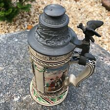 Antique German Stein Military, Hand Painted, Marked 1908