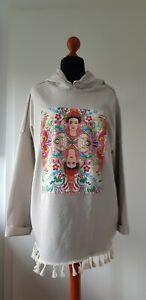 Hoodie Sweatshirt Frida Kahlo Oversize Beige Fransen 38/40/42 Neu