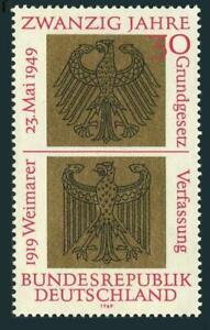 Germany 998,MNH.Michel 585. German Basic Law,20th Ann.1969.Heraldic Eagles.